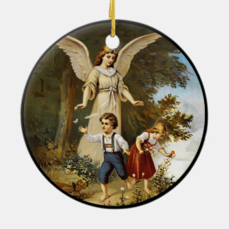 Angel on Cliff with Children Christmas Ornament