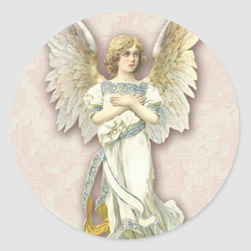 Angel On Pink Lace Stickers