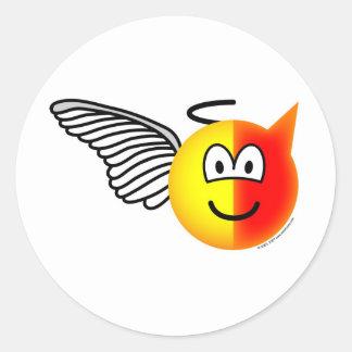 Angel or devil emoticon classic round sticker