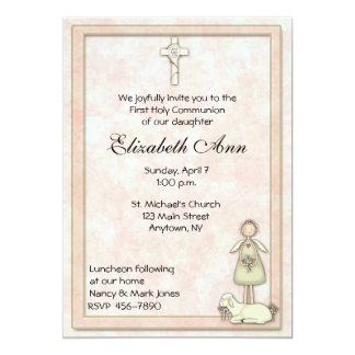 Angel Peach Communion Invitation