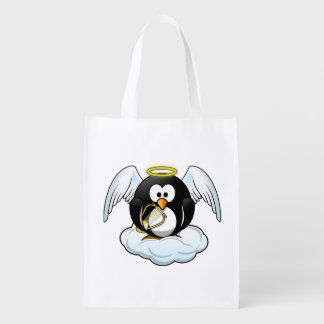 Angel Penguin on A Cloud Reusable Grocery Bag