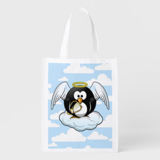 Angel Penguin on a Cloud With Sky Background Reusable Grocery Bag