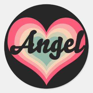Angel Pet Name Sweet Hearts Round Sticker
