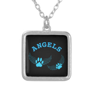 Angel Pet Paws In Blue Silver Plated Necklace