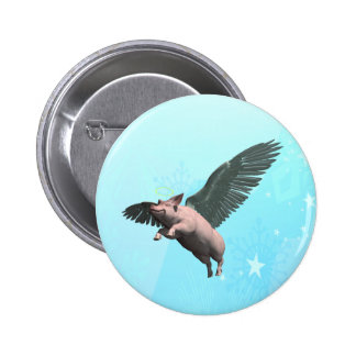 Angel Pig 6 Cm Round Badge
