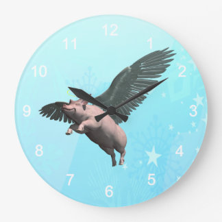 Angel Pig Large Clock