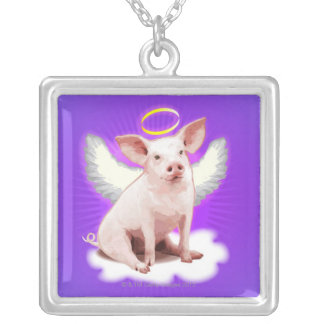 Angel Pig Silver Plated Necklace