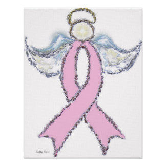 Angel Pink Ribbon Canvas/Poster Poster