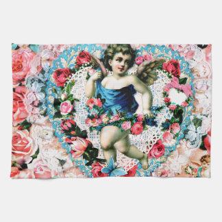 Angel Pink Roses Vintage Victorian Tea Towel