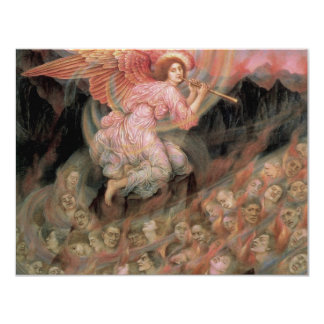 Angel Piping to Souls in Hell by Evelyn De Morgan 11 Cm X 14 Cm Invitation Card