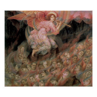 Angel Piping to Souls in Hell by Evelyn De Morgan Poster