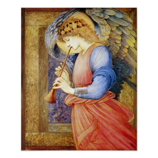 Angel Playing a Flageolet Burne-Jones Poster Print