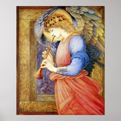 Angel Playing a Flageolet Burne-Jones Poster Print