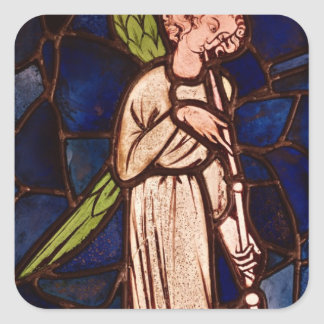 Angel playing a trumpet, c.1280 square sticker
