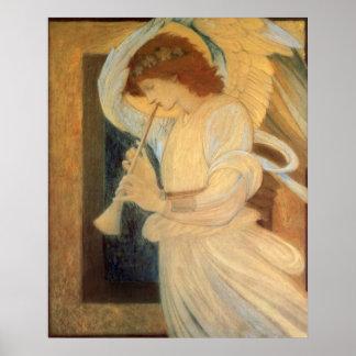 Angel Playing Flageolet Burne Jones, Vintage Music Print