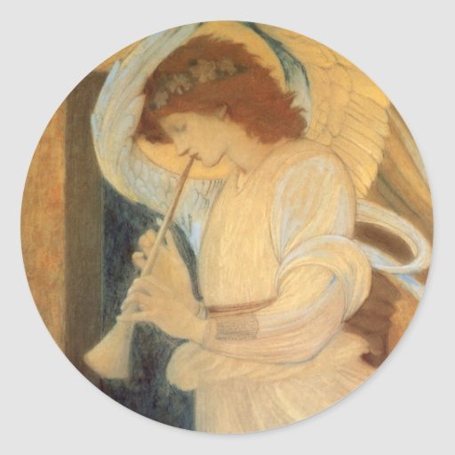 Angel Playing Flageolet Burne Jones, Vintage Music Stickers