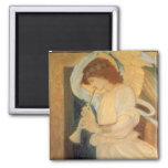Angel Playing Flageolet By Burne Jones Square Magnet