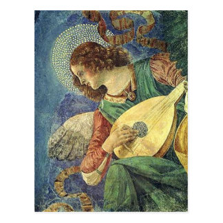 ANGEL PLAYING LUTE, Parchment Postcard