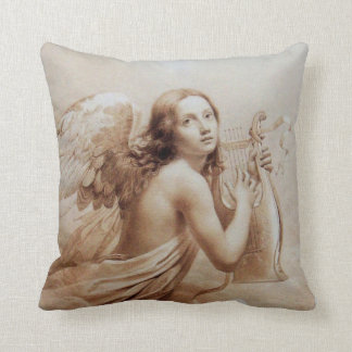 ANGEL PLAYING LYRA OVER THE CLOUDS brown Throw Cushion