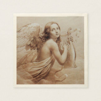 ANGEL PLAYING LYRA OVER THE CLOUDS DISPOSABLE SERVIETTE