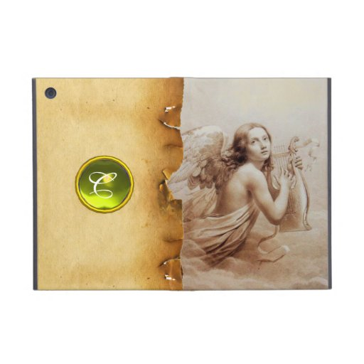 ANGEL PLAYING LYRA OVER THE CLOUDS ,GEM MONOGRAM iPad MINI COVER