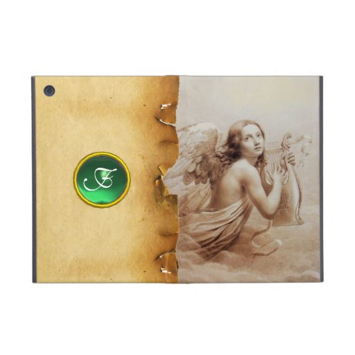 ANGEL PLAYING LYRA OVER THE CLOUDS ,GEM MONOGRAM COVER FOR iPad MINI