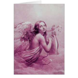 ANGEL PLAYING LYRA OVER THE CLOUDS GREETING CARD