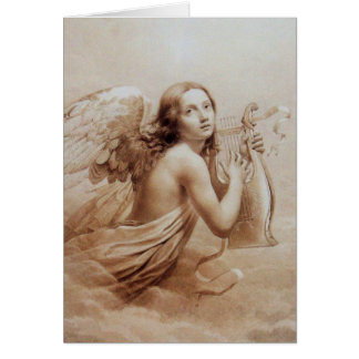 ANGEL PLAYING LYRA OVER THE CLOUDS GREETING CARDS