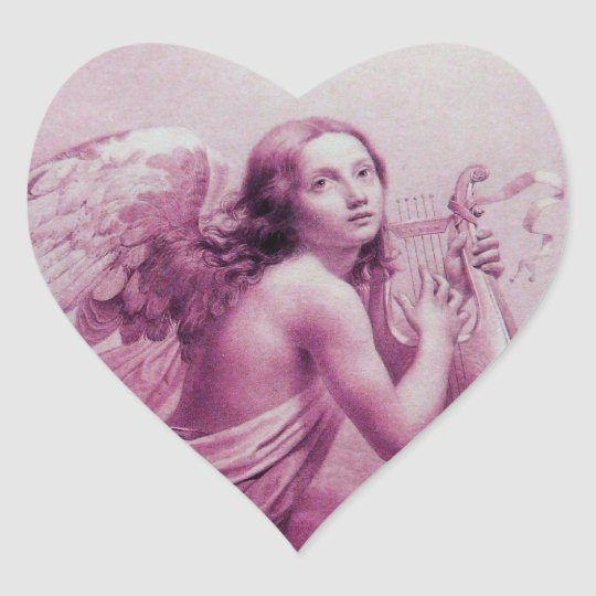 ANGEL PLAYING LYRA OVER THE CLOUDS ,heart Heart Sticker