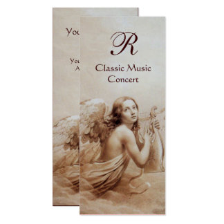 ANGEL PLAYING LYRA OVER THE CLOUDS,Monogram Silver 10 Cm X 24 Cm Invitation Card