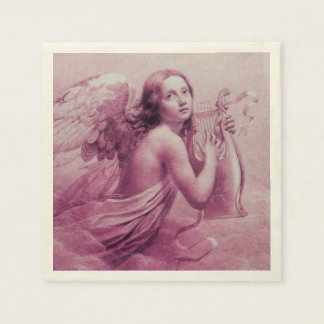 ANGEL PLAYING LYRA OVER THE CLOUDS PAPER NAPKINS