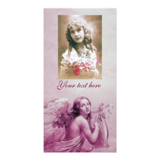 ANGEL PLAYING LYRA OVER THE CLOUDS PERSONALIZED PHOTO CARD