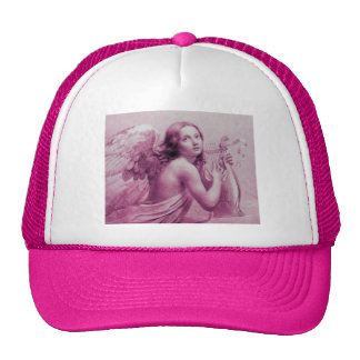 ANGEL PLAYING LYRA OVER THE CLOUDS pink Mesh Hat