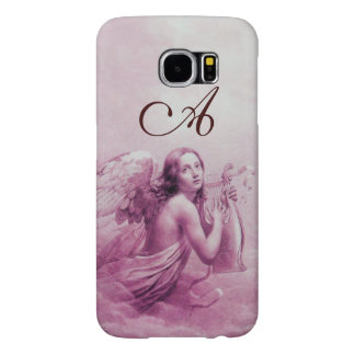ANGEL PLAYING LYRA OVER THE CLOUDS pink monogram Samsung Galaxy S6 Cases