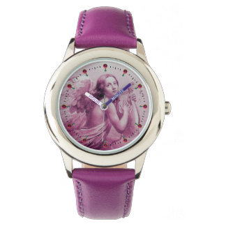 ANGEL PLAYING LYRA OVER THE CLOUDS Pink Purple Watch