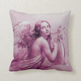 ANGEL PLAYING LYRA OVER THE CLOUDS pink Throw Cushion