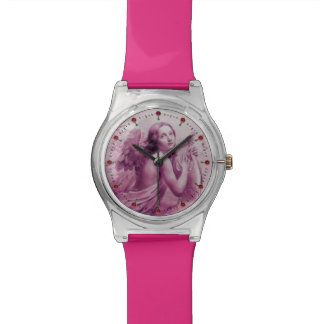 ANGEL PLAYING LYRA OVER THE CLOUDS pink Wrist Watches