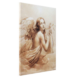 ANGEL PLAYING LYRA OVER THE CLOUDS STRETCHED CANVAS PRINT