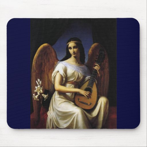 Angel Playing mandolina Music Antique Painting Mouse Pads