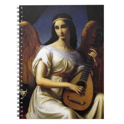 Angel Playing mandolina Music Antique Painting Spiral Notebook