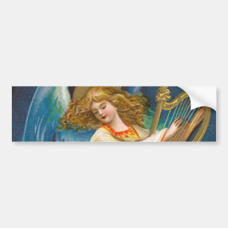Angel Playing Music On A Harp Bumper Sticker
