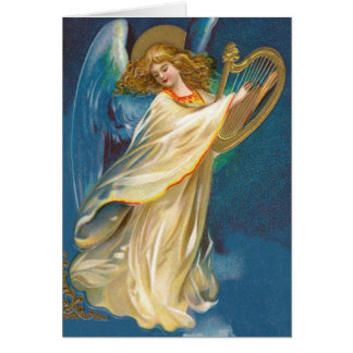 Angel Playing Music On A Harp Card