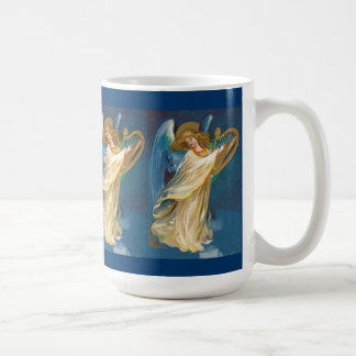Angel Playing Music On A Harp Basic White Mug
