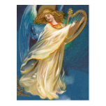 Angel Playing Music On A Harp Postcard