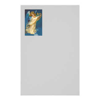 Angel Playing Music On A Harp Stationery Design