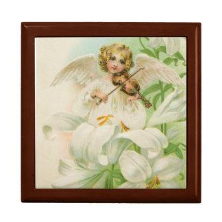 Angel Playing Violin Large Square Gift Box