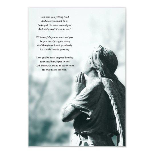 angel prayer memorial services card