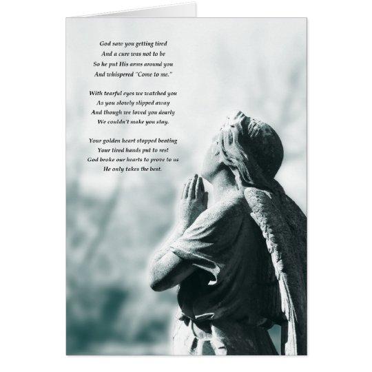 angel prayer sympathy card