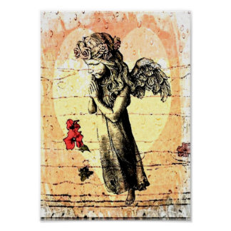 Angel Praying and Heart Poster
