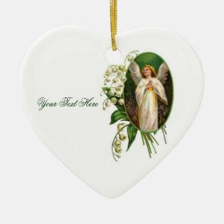 Angel Praying In A Garden Ceramic Heart Decoration